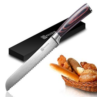 Bread Knife - PAUDIN Ultra Sharp Serrated Knife 8 Inch, German High Carbon Stainless Steel Cake Slicer, Ergonomic Handle, Durable Kitchen Knife Bread Cutter for All Types of Bread
