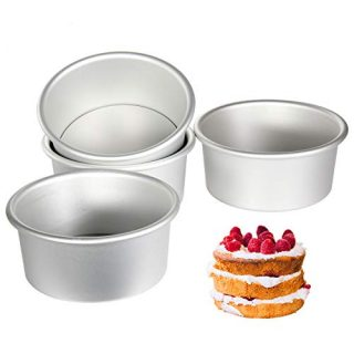 Aluminum Round Cake Pans, 6 Inch Non-Stick Cheesecake pans, Set of 4, TAOUNOA Round Baking pans, with a Removable Bottom