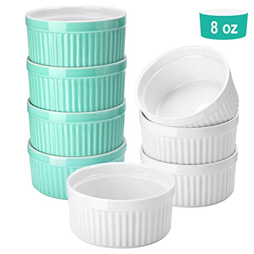 Porcelain Ramekins - Set of 8-8 Ounce Souffle Dishes Ramekins Cups for Souffle, Creme Brulee and Ice Cream, Oven Safe Ramekins Bowls for Baking