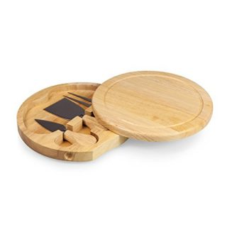 TOSCANA - a Picnic Time Brand Brie 7-1/2-Inch Cheese Board with Cheese Tools