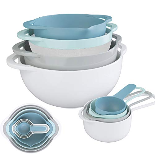 Nesting Bowls 8 Piece Mixing Bowl Set, Plastic Colorful Kitchen Bowls BPA Free, Including 2 Mixing Bowls, 1 Colander, 1 Sifter and 4 Measuring Cups with Handles for Salad Snack Fruits Baking Cooking