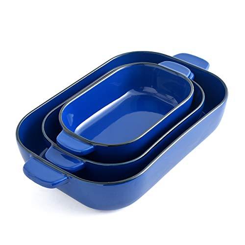 KVV Ceramic 13X9 Baking Dish Set,Kitchen,Cake Dinner,Banquet and Daily Use,Lasagna Pan,Ovenware Casserole Pan,ceramic bakeware(Blue set of 3)
