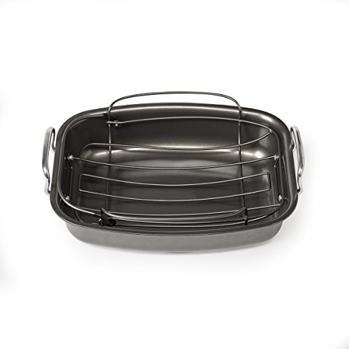 Chicago Metallic Professional Non-Stick Rectangular Carbon Steel Roasting Pan with Floating Rack, 18-Inch-by-14, Gray