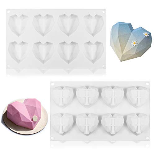 JOERSH Silicone Diamond Heart Mold,2pcs 3D Love Heart Shaped Chocolate Mold Tray Reusable for Chocolate,Mousse Cake Baking, Dessert, Candy,Pastry,Soap