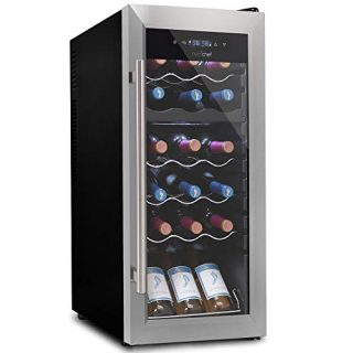 18 Bottle Wine Cooler Refrigerator - White/Red Wine Fridge Chiller Countertop Wine Cooler - Freestanding Compact Mini Wine Fridge 18 Bottles w/Digital Control, Glass Door - NutriChef PKCWCDS185