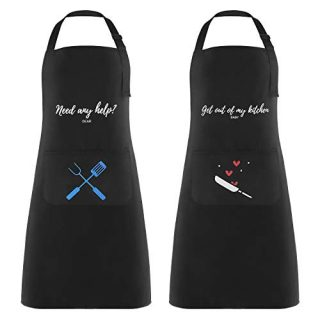 Lemecima Aprons with Pockets Kitchen Apron Set Couple Apron Waterproof Adjustable Shoulder Boyfriend, Girlfriend or Any Friend Master Chef Apron