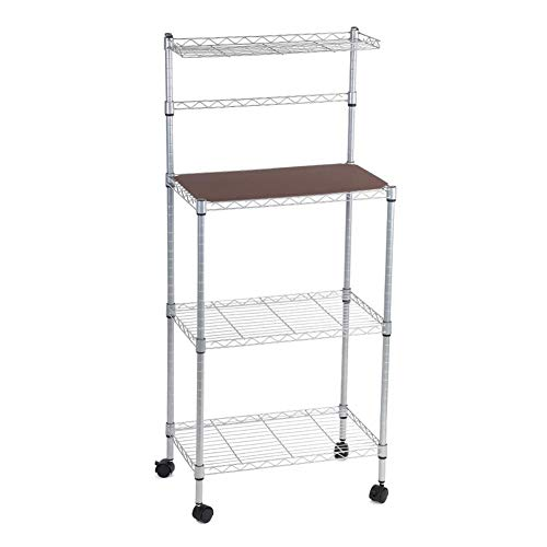 """Kitchen Storage Shelves, 3-Tier Premium Metal Kitchen Baker's Rack Wire Shelving Unit with 4 Detachable Wheels Microwave Oven Stand Multifunctional Cooking Utensils Holder 21.6"""" L x 13"""" W x 48"""" H"""