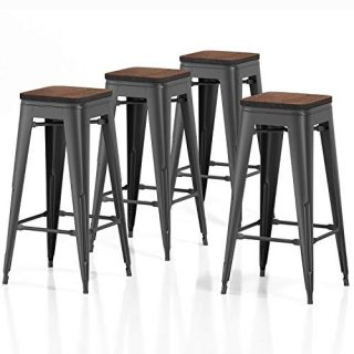 "VIPEK 30 Inches Metal Bar Stools Set of 4 Bar Height Barstool Bar Chairs with Wooden Seat 30"" for Home Kitchen Cafe Dining Chairs Patio Bistro Restaurant Industrial Style, Matte Black"