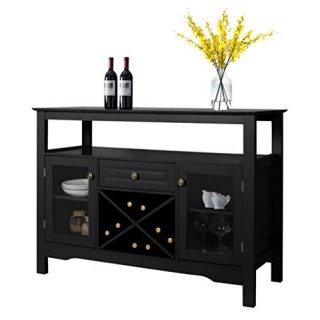 Black Sideboard Wine Cabinet - Home Kitchen Dining Room Buffet Cupboard Table with Storage Drawer, Adjustable Shelf & Glass Display Cabinet (Black)