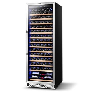 Colzer Upgrade 24 Inch Wine Cooler Refrigerators, 154 Bottle Fast Cooling Low Noise and No Fog Wine Fridge with Professional Compressor Stainless Steel, Digital Temperature Control Screen Built-in or Freestanding 41°F-72°F