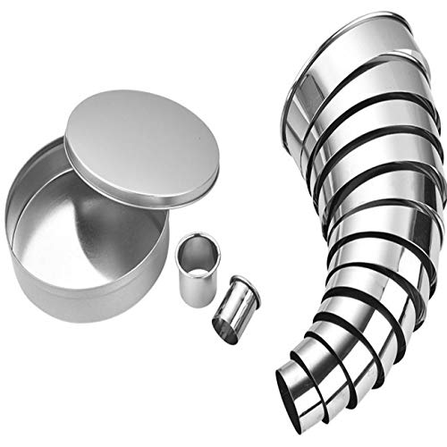 Amestar Round Cookie Cutter Set 14 Pack Circle Biscuit Pastry Donut Doughnut Cutter Nest Circle Baking Metal Ring Molds 18/8 304 Stainless Steel,Diameter from 0.9 to 4.6 in