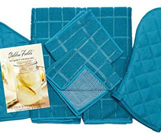 Home Collection 8 Piece Kitchen Towel Set with Dish Towels, Pot Holders, Oven Mitt, and Microfiber Scrubbing Dishcloths Bundle (Turquoise)