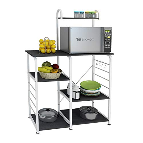 DlandHome Microwave Cart Stand 35.4 inches, Kitchen Utility Storage 3-Tierx4-Tier for Baker and Rack and Spice Rack Organizer Workstation Shelf, 172-B Black, 1 Pack