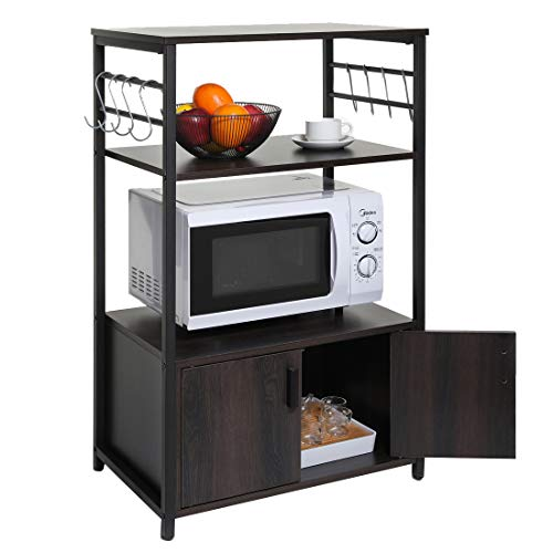 USIKEY Kitchen Baker's Rack, Microwave Oven Stand with 1 Storage Cabinet and 8 Hooks, 3-Tier Kitchen Storage Cainet with Doors and Shelves, Metal Frame Industrial Baker Rack Wood Look
