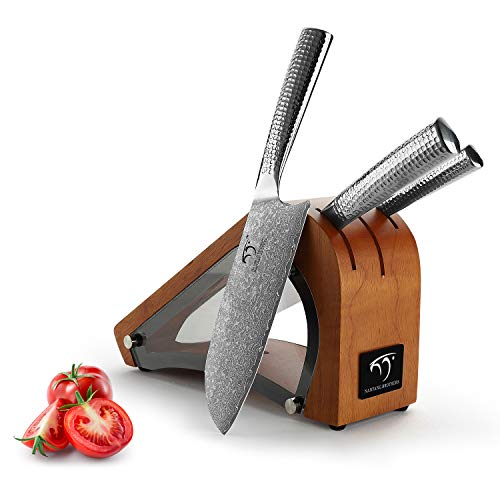 Kitchen Damascus Knife Set, 4-Piece Kitchen Knife Set with Block, Ergonomic Handle for Chef Knife Set