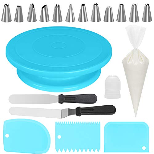 Kootek All-In-One Cake Decorating Kit Supplies with Revolving Cake Turntable, 50 Disposable Pastry Bags, 12 Cake Decorating Tips, 2 Icing Spatula, 3 Icing Smoother and 1 Coupler Baking Set, Blue