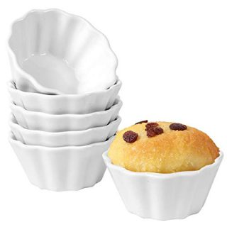 Hompiks 6 oz Ramekins Souffle Ramekin Porcelain Ramekin Oven Safe Ramekins for Creme Brulee Cake Ice Cream Baking Set of 6 White