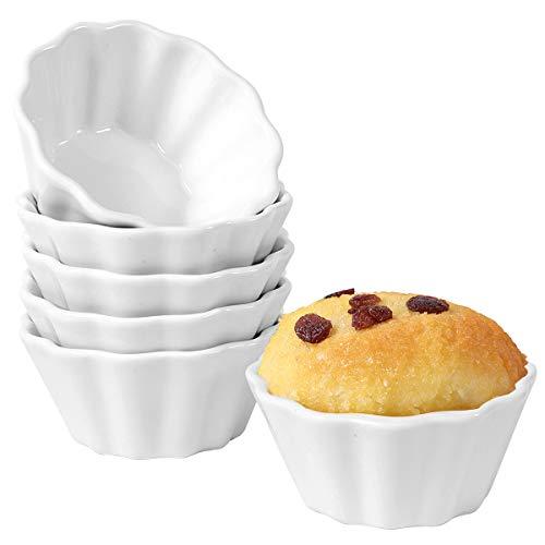 Hompiks 6 oz Ramekins Souffle Ramekin Porcelain Ramekin Oven Safe Ramekins for Creme Brulee Cake Ice Cream Baking Set of 6 White