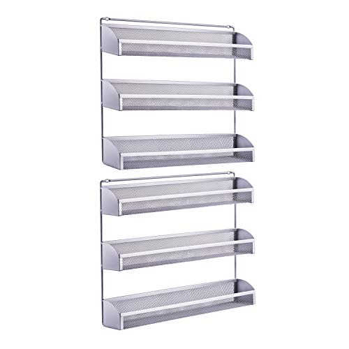 2 Pack- Simple Trending 3 Tier Spice Rack Organizer, Wall Mounted Spice Shelf Storage Holder for Kitchen Cabinet Pantry Door, Silver
