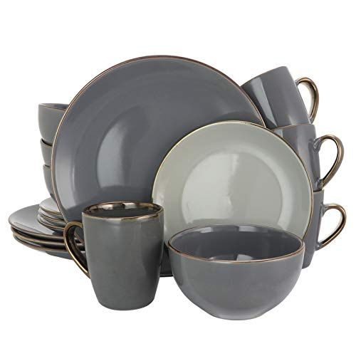 Round Stoneware Grand Collection Dinnerware Dish Set