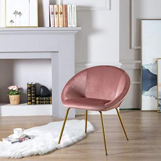 chairus Living Room Chair, Upholstered Side Chair Modern Leisure Velvet Accent Chair with Brass Gold Metal Legs, Vanity Chair for Bedroom Dresser, Tufted Guest Chair Dining Chair, Rose Pink