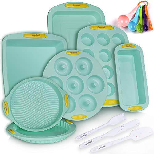15in1 Silicone Nonstick Baking Pans Mold Tray Supplies Tools Bakeware Set, BPA Free Food Grade for Muffin Donuts Pizza Tiramisu Cake Pan Cookie Sheets Cookware Set with Yellow Hanlde Grip for Oven