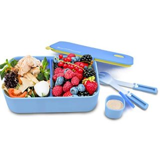 Blue Ele Bento Box Air-Tight Kid's Lunch Box with Matching Mini Utensil Set, Sliding Food Divider, and Leak-Proof Sauce Cup (blue)