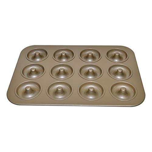 Large Donut Baking Pans, Nonstick 12 Cavity Doughnut Pan,Carbon Steel Cake Baking Pan, Mini Bagel Bakeware for Oven baking -Gold