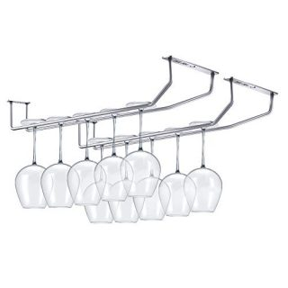 Hokyzam 2 Pack Wine Glass Rack Holder 304 Stainless Steel Stemware Rack Under Cabinet Rack Kitchen Bar Organizer Storage Chrome Finish Wine Glass Hanger, Silver