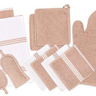 DAILY HOME ESSENTIALS - 11 Pack Cotton Terry Kitchen Linen Set (Kitchen Towels, Dish Cloth, Oven Mitt, Pot Holder & Pan Handle Sleeves) (Beige) | Ideal for All Kitchen Household Tasks