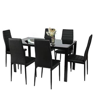 MountGet Glass Table and PU Leather Chairs Set of 6, 7 Piece Kitchen Dining Table Set