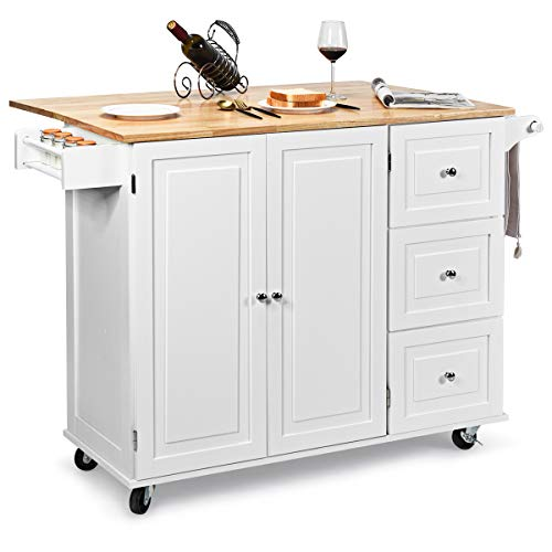 Giantex Kitchen Island Cart with Drop-Leaf Tabletop