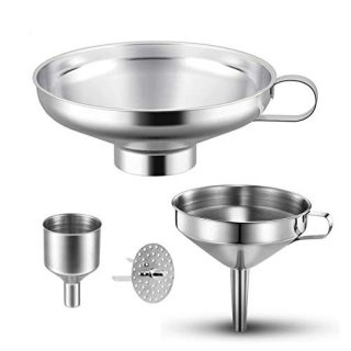 4 Pieces Canning Funnel Stainless Steel Funnels Set, Kitchen Wide Mouth Funnel Mason Jar Funnel with Strainer for Kitchen Spices Liquid Powder Bean jam Canning Funnels Transferring Tools