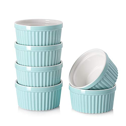 DOWAN 4 oz Ramekins - Ramekins for Creme Brulee Porcelain Ramekins Oven Safe, Classic Style Ramekins for Baking Souffle Ramekins Ramekins Bowls, Set of 6, Blue