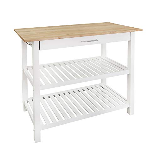 "Casual Home Kitchen Island with Solid American Hardwood Top, Natural/White, 40"" W (373-91)"