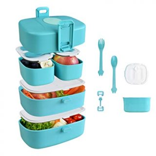 Stackable Bento Box, 4-Compartment Hermetic Premium Lunch Box for Adults and Children with Dividers and Utensils,Durable, Leakproof, On-the-Go Meal and Snack Packing, Microwave Safe, BPA Free, Blue