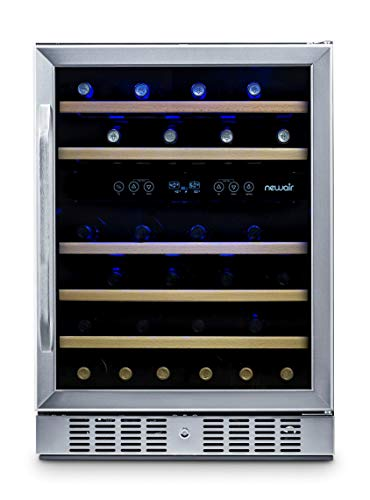 Dual Zone 46 Bottle Capcity Fridge with Triple-Layer Tempered Glass Door