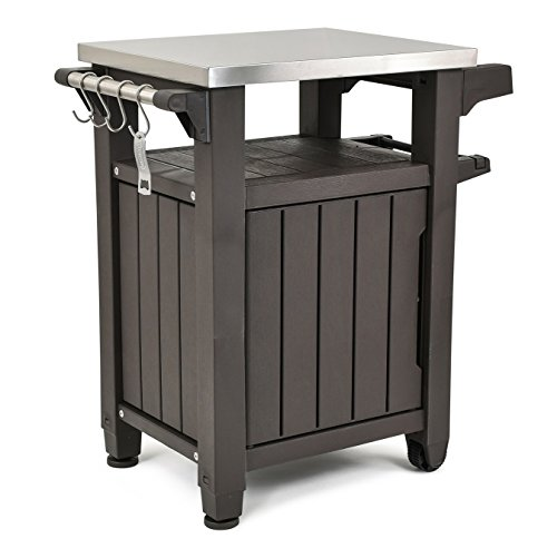 Portable Outdoor Table and Storage Cabinet with Hooks for Grill