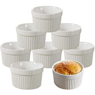 4 Ounce Porcelain Souffle Dishes, Serving Bowls for Souffle Baking Dish, Porcelain Ramekins for Baking, Ramekins Bakeware Set of 8 (White 4OZ-8PCS)