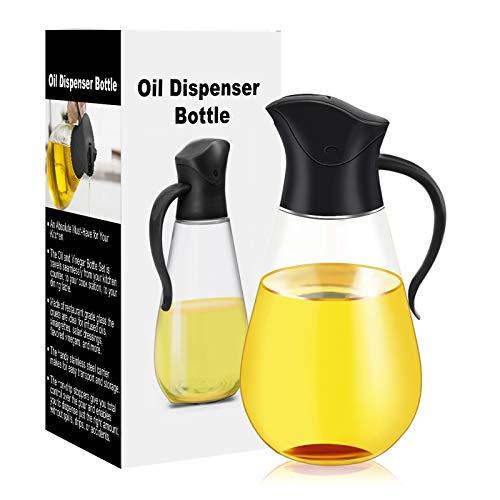 Oil Dispenser Bottle,Cooking Container Bottle 20.5 oz Glass Olive Oil Dispenser Non-Drip Kitchen Vinegar Barbecue Marinade Dispenser Bottle With Scale and Non-Slip Handle for Kitchen (Black)