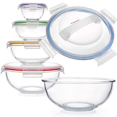 Space-Saving Glass Bowls With Lids Food Storage
