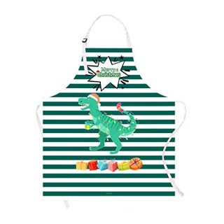 Claswcalor Merry Christmas Kids Apron, Cartoon Dinosaur Kitchen Apron for Girls Boys, Green and White Striped Cooking Apron, Waterproof Adjustable Apron for Kids Cooking, Baking, Crafting, BBQ