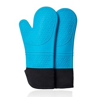 CHRYZTAL Premium Professional Silicone Oven Mitts,Heat Resistant Pot Holders,Flexible Non Slip Oven Gloves with Quilted Liner,1 Pair,Aqua,Set of 2,14.7 Inch