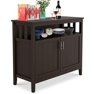 Depointer Life Kitchen Storage Sideboard Dining Buffet Server Cabinet Cupboard, Free Standing Storage Chest with 2 Doors and Adjustable Shelves Open Shelf for Kitchen,Bedroom,Dining Room