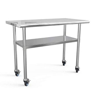 Stainless Steel Prep Table 48x24 Inches Commercial Work Table Food Metal Table Heavy Duty Kitchen Garage Tables Worktables and Workstations Sandwich Top with 4 Caster Wheels