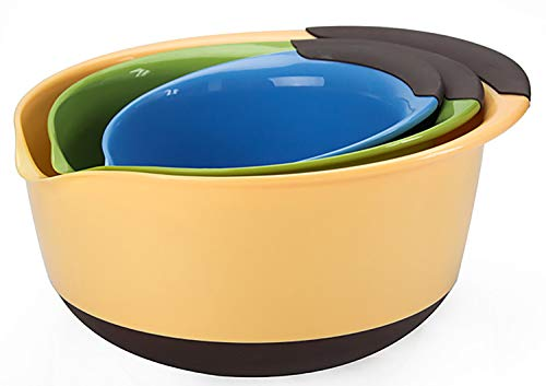 Yesland 3 Pack Mixing Bowls Set, Nesting Mixing Bowls of 3 Different Sizes, with Rubber Grip Handles & Easy Pour Spout, Perfect for Kitchen Baking Salad