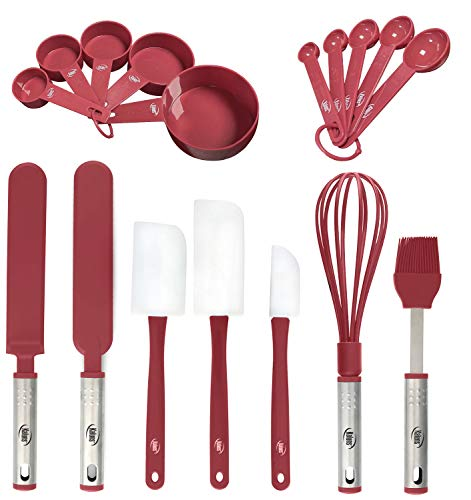 Baking Utensils, 17 Nylon Stainless Steel Baking Supplies Non Stick and Heat Resistant Bakeware set New Baker's Gadget Tools Collection Great Silicone Spatula Best Holiday Gift Idea. (Red)
