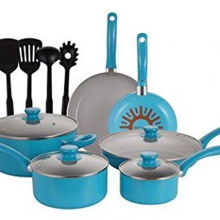 Mirazur Non-Stick Cookware Ceramic 15 Piece Pots And Pans Sets with Bakelite Handles Frying Pan Saucepan Casserole, Blue