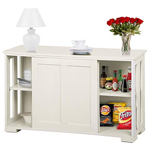 YAHEETECH Kitchen Storage Sideboard with Sliding Door Stackable Buffet Cabinet Cupboard for Kitchen Dining Room, Antique White