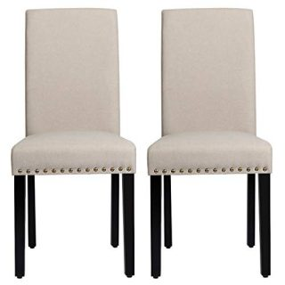 RELAX4LIFE Dining Chairs Set of 2 Fabric Upholstered with Solid Wood Legs, Padded Seat and Back Armless Side Chair Tufted Parsons Kitchen Dining Chairs Set (1, Beige)